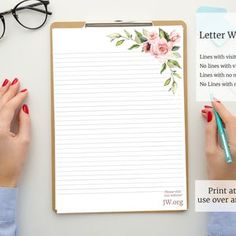 JW Letter Writing Paper with QR Code Forest Lined and | Etsy Free Printable Stationery, Printable Letters, Printable Paper, Psalm 37, Stationery Paper, Stationery Design, Writing Paper, Letter Writing, Ruled Paper