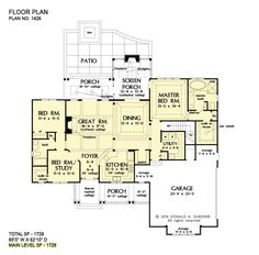 House plan 1517 has been named The Gavin and is now available! This one-story design features a modest floor plan with a thoughful layout. Simple House Plans, New House Plans, Dream House Plans, House Floor Plans, Ranch House Plans, Cottage House Plans, Country House Plans, Cottage Living, Stair Plan