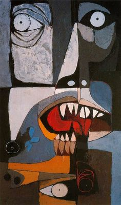 Oswaldo Guayasamin: Mural Movible Lidice. Mai Lai (1977) Acrilico sobre madera. 200 x 120cm. La Edad de la Ira nº 3. Colección Fundación Guayasamín. Quito. Ecuador