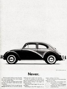 1960's Volkswagon Advertisement Pinned by Ricky Richards www.rickyrichards.com