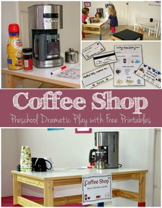 Play Coffee Shop for Kids Dramatic Play Coffee Shop for Preschoolers with Free Printables!Dramatic Play Coffee Shop for Preschoolers with Free Printables! Dramatic Play Themes, Dramatic Play Area, Dramatic Play Centers, Preschool Dramatic Play, Play Based Learning, Early Learning, Learning Activities, Summer Activities, Playgroup Activities