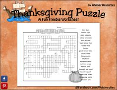 Thanksgiving Crossword Puzzle from Whimsy Resources on TeachersNotebook.com -  (3 pages)  - Here is a fun and challenging holiday crossword puzzle. A great activity to have students build vocabulary and learn about the Thanksgiving holiday.