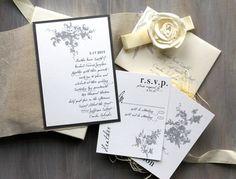 All White  Rustic Wedding Invitations Elegant Linen by BeaconLane, $14.50