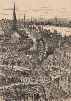 LONDON/TOWNS: Ludgate (From the west. Vintage print, with descriptive tissue guard overlay highlighting notable features/locations, approximate size x x inches Old London, London Map, London City, London History, Local History, Creepy Old Houses, Henry Williams, London Landmarks, London Photos
