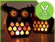 Owl lanterns from paper. Maybe cardboard? Fun Arts And Crafts, Diy And Crafts, Owl Crafts, Crafts For Kids, Diy Paper, Paper Crafting, Diy Projects To Try, Craft Projects, Balloon Lanterns