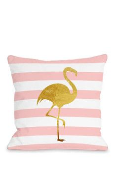 Tropical Stripes Flamingo Pillow by OBC - Pink