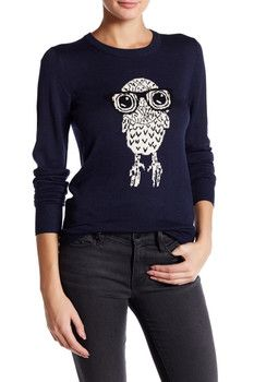 French Connection Geeky Owl Long Sleeve Sweater