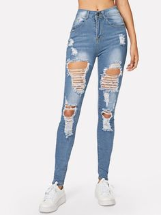 Ripped Bleach Wash Skinny Jeans – GaGodeal 2019 skinny jeans outfit su… Ripped Bleach Wash Skinny Jeans – GaGodeal 2019 skinny jeans outfit summer and skinny jeans outfit jeans and sandals outfit jeans and shirt outfit Lässigen Jeans, Casual Jeans, Denim Pants, Jeans Style, Women's Casual, Army Pants, Jeans Cargo, Holey Jeans, Mom Jeans