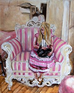 Pulling our Weight Limited Edition Archival Print by KimAnnabella, €10.00 Art Reproduction Limited Edition 17th century Princess Pink Marie Antoinette Pop Surrealism Rococo Baroque Versailles Lolita Royalty Aristocracy queen Alternative  Materials    paint canvas acrylic paint oil paint archival paper print
