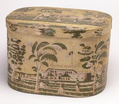 Bandbox and lid, Castle Garden, ca. 1830–40; USA; Block-printed paper on wood support; Gift of Eleanor and Sarah Hewitt, 1918-19-7-a,b http://www.cooperhewitt.org/2014/05/14/from-protector-to-entertainer-the-different-faces-of-castle-garden/