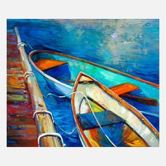 Boats Original Oil Painting.