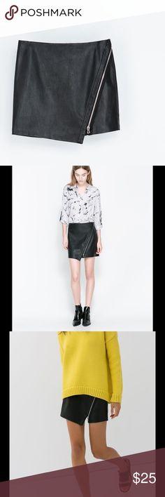 "NWT Zara faux leather mini skirt New new  Zara Basic faux leather mini skirt. Length: 15,5"" waist: 14"" Zara Skirts Mini"