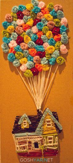 Pixar's UP house made of yarn! Disney String Art, Nail String Art, Disney Diy, Disney Crafts, Disney Stuff, Arte Linear, Stitch Witchery, Yarn Flowers, Up Theme