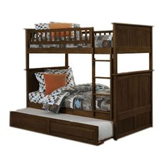 Nantucket Bunk Bed with Trundle in Walnut - Kid's bedroom