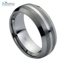 Tungsten Carbide Unisex Wedding Engagement Band 8MM Beveled Edges Dome Brushed Comfort Fit Engagement Groove Ring