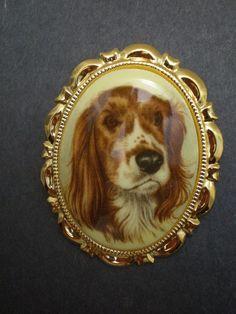Vintage English Springer Spaniel Dog by DivaVintageJewelry on Etsy, $15.99
