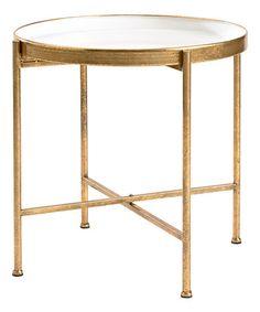 Great 20u0027u0027 White U0026 Gold Pop Up Side Table