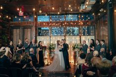 Hanging string lights provide an amazing wow factor that works so well for weddings at Brooklyn Winery!