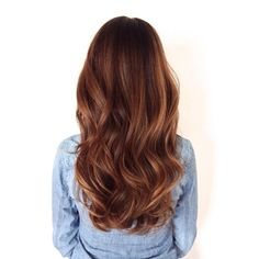 Long healthy brunette hair with a soft wave and sombre or soft ombre.