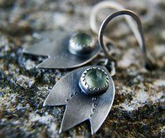 Leaves of the Elder Tree -------- Prehnite Sterling Silver Earrings