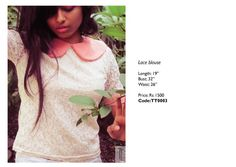 "Lace Blouse with Peter Pan Collar Rs 1500 Item Code- TT0003 Length:19"" Bust:32"" Waist:26"""