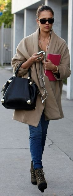 Who made Jessica Alba's black sunglasses and black tote that she wore in West Hollywood on January 13, 2010?