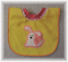 Baby Bib Pullover Yellow Fleece Bib with Bunny by MaricoleDesigns