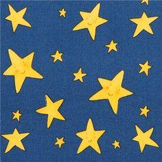 blue night star children fabric Rhyme Time 1