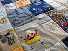 baby clothes blanket - because some of their pieces are just too hard to say goodbye :: will definitely have to remember this!