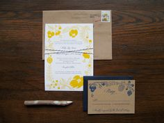 beautiful yellow and navy blue wedding invitations by Beth Enko (http://bethenko.com/) embossed wood pattern paper, goes beautifully with sunflowers! cc @Kelly Joyful