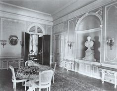 Villa Rosa interiors: The dining room. Codman had the bust and the pedestal it sits on carved in France and sent over. JC