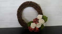 Grapevine Wreath with paper flowers Homemade Wreaths, Grapevine Wreath, Grape Vines, Paper Flowers, Vineyard Vines, Vines