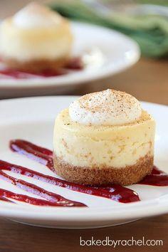 Mini Eggnog Cheesecake Recipe from bakedbyrachel.com