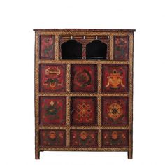 A hand-painted display cabinet which originated in Tibet c.1965.