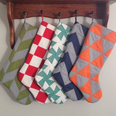 Handmade, Fun, Modern Christmas Stockings. Quilted on both sides. Everything is double stitched for extra durability.