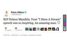 Please Tell Me That This Paris Hilton Nelson Mandela Tweet Is Fake - NoWayGirl