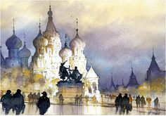 Red Square Skyline - Moscow Thomas W Schaller - Watercolor. 22x15 inches - 08 Dec 2015