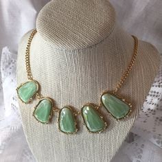 Mint Multifaceted CZ Necklace! New! Mint Multifaceted CZ Necklace! New!  Beautiful Statement piece!  This piece reminds me of K Scott style.    Tiny CZs adorn the larger stones.  Gold chain with large secure claw clasp !  Excellent Quality !  18 inch with 4 inch extender Jewelry Necklaces