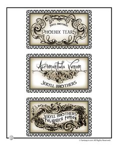 Printable Halloween Labels for Bottles and Potions Harry Potter Potions Lab Labels