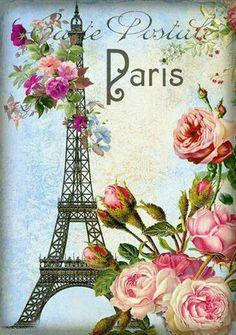 Paris postale with roses and Eiffel tower. Decoupage Vintage, Decoupage Paper, Images Vintage, Vintage Pictures, Vintage Labels, Vintage Postcards, Paris Vintage, Vintage Roses, Foto Transfer