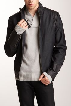 i.am Canvas Biker Jacket with Marble Leather Trim