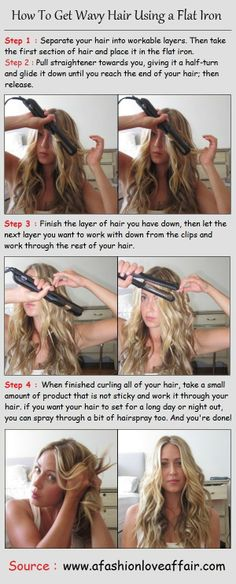 Thank you! I have been looking everywhere for a way to make wavy hair with a flat iron!