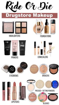 Ride Or Die: Best Drugstore Makeup This particular article continues to be a very long time coming. Drugstore Eyeshadow Palette, Best Drugstore Makeup, Best Makeup Products, Eyeshadows, Beauty Products, Contour Makeup Products, Best Drugstore Setting Powder, Dewy Makeup, Huda Beauty Makeup