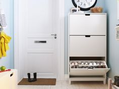 IKEA - STÄLL, Shoe cabinet with 3 compartments, white, , Helps you organize your shoes and saves floor space at the same time.You will have room for plenty of shoes Shoe Storage, Locker Storage, Yarn Storage, Ikea Shoe Cabinet, Shoe Cabinets, Floor Space, Closet Organization, Organization Ideas, Getting Organized