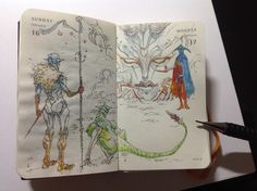 Numbers 47 & 48 of Kenneth Rocafort's 365 day sketch project (2014).