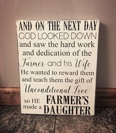 God made a farmer's daughter sign farmer's by sweetandsimpledecor