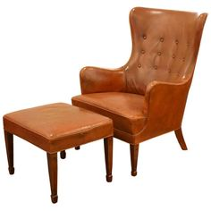 For Sale on - Beautiful chair and ottoman in original patinated leather by Frits Henningsen, Denmark ca. The leather is in excellent condition with no tears or Chair And Ottoman, Wingback Chair, Armchair, Club Chairs, Lounge Chairs, Modern Chairs, Modern Lounge, Mid Century Furniture, Cool Furniture