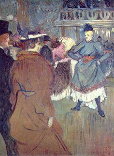 """""""물랭 루주'서 : 카드리유의 시작"""" (1892)     물랭 루즈에서의 춤은 로트렉 그림의 주요 소재였으며 그의 유명 작품들은 대부분 물랭루즈와 춤을 소재로 삼는다. 화면 속 파란 옷의 여인은 당장이라도 발을 구르며 춤 출 것만 같다. 스스로의 신체적 부자유 속에서 로트렉은 정적이고 평면적인 2차원의 캔버스를 율동으로 가득 채웠다."""