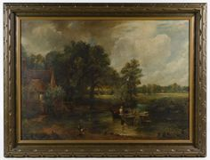 "Lot 313: (After) John Constable (British, 1776-1837) ""The Hay Wain"" Oil on Canvas; Dated 1912 in pen en verso, depicting a house with a dog and a horse pulling a hay wagon with two people on it; Stix, Baer & Fuller Art Galleries Sticker en verso"