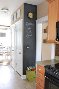 Like the idea of a small chalkboard wall. Dwellings By DeVore: Chalkboard Wall Black Kitchens, Home Kitchens, Kitchen Black, Chalkboard Wall Kitchen, Chalkboard Walls, Small Chalkboard, Chalk Wall, Chalkboard Decor, Hm Deco